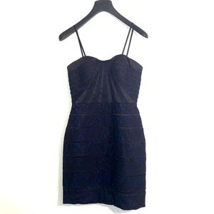 [Aqua] Black/Blue Lace Strapless Dress - Size 6